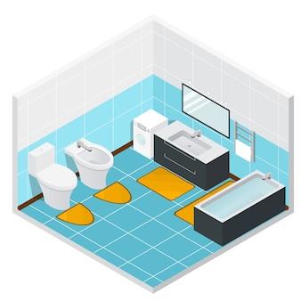 Intérieur détaillé de la salle de bains et des toilettes isométriques. illustration