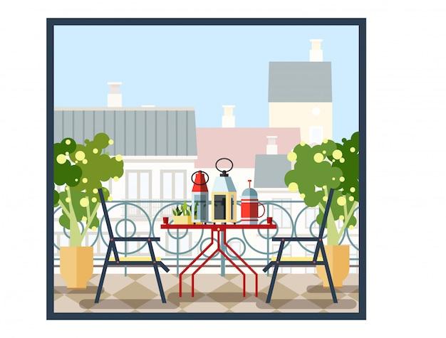 Intérieur du balcon, table et chaises, arbres en pot. beau paysage, vue sur la ville. illustration colorée dans un style plat.