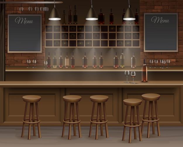 Intérieur du bar, comptoir.