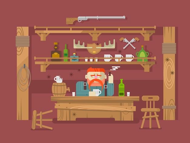 Intérieur du bar. homme sévère et bière alcoolisée, taverne ou pub, illustration vectorielle plane