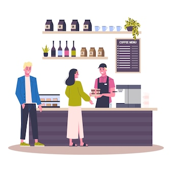 Intérieur du bâtiment du café. les gens achètent du café au café. menu sur le tableau noir. illustration