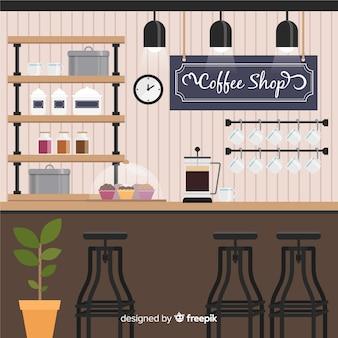 Intérieur du café moderne avec un design plat