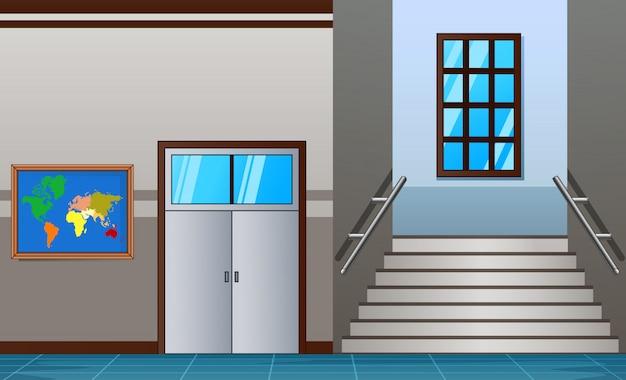 Intérieur du collège lumineux du couloir avec casier rouge