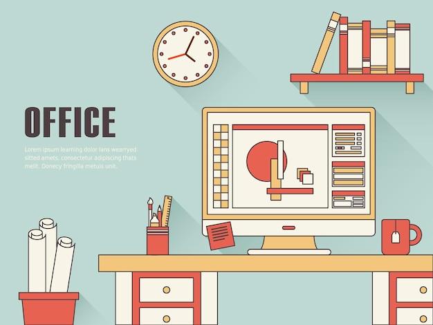 Intérieur du concept de lieu de travail dans un style de ligne mince