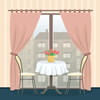 Intérieur du restaurant dans un style classique. table avec chaises près de la fenêtre panoramique.