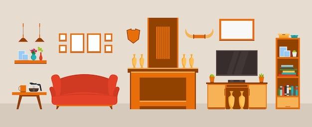 Intérieur du salon aménagement d'une chambre cosy avec canapé meuble tv fenêtre et accessoires déco