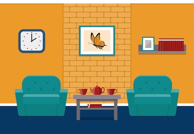 Intérieur du salon en appartement. contexte.