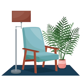 Intérieur Du Salon. Fauteuil, Lampadaire Et Plante D'intérieur, Illustration Vectorielle Vecteur Premium