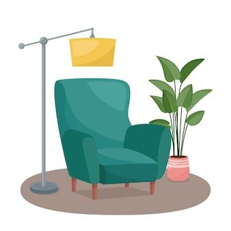 Intérieur du salon. fauteuil, lampadaire et plante d'intérieur, illustration vectorielle