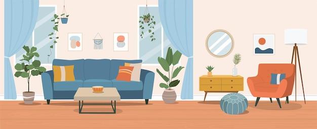 Intérieur Du Salon. Illustration De Dessin Animé Plat Vecteur Premium
