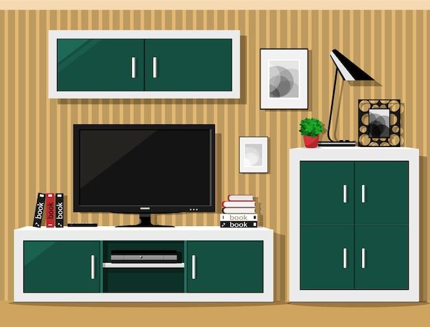 Intérieur du salon avec des meubles modernes.