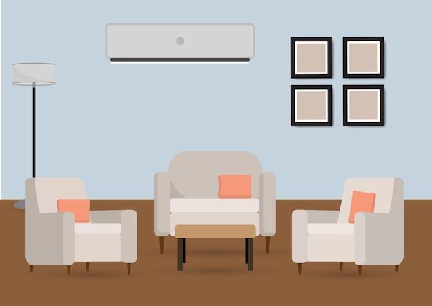 Intérieur du salon avec mobilier