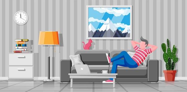 Intérieur du salon moderne. indépendant sur canapé travaillant à la maison avec un ordinateur portable. l'homme se détendre sur le canapé. personnage hipster en jeans et t-shirt. illustration vectorielle plane