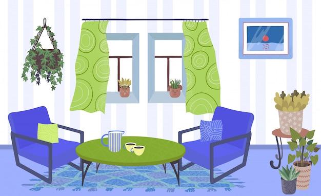 Intérieur du salon avec des plantes en pots, fauteuils, table et fenêtre avec rideaux maison jardin plat illustration.