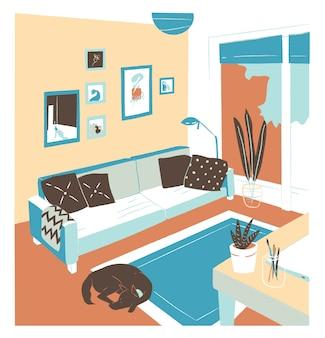 Intérieur du salon plein de meubles confortables et de décorations pour la maison