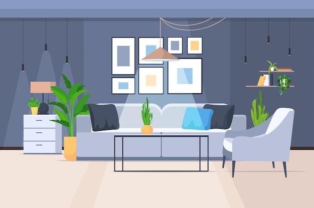 Intérieur du salon vide aucun peuple accueil appartement moderne design horizontal illustration vectorielle