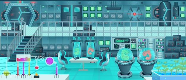 Intérieur du vaisseau spatial, laboratoire. illustration vectorielle de dessin animé.