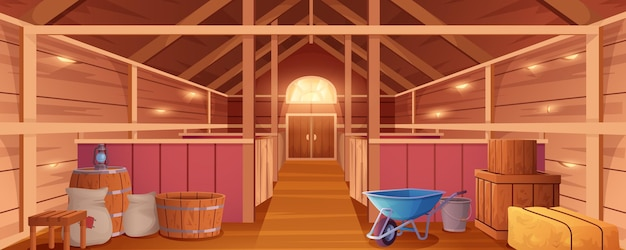 Intérieur d'écurie ou grange pour animaux maison de ferme vue intérieure ranch en bois vide avec stalles foin...