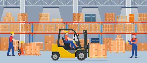 Intérieur de l'entrepôt avec des boîtes en carton
