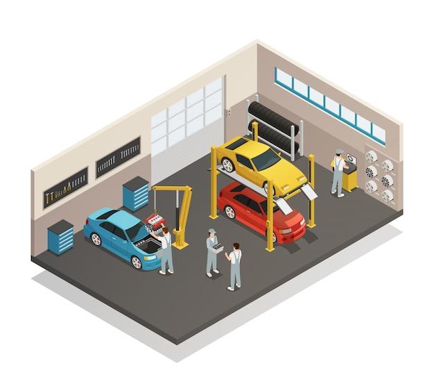 Intérieur d'entretien isométrique du service de maintenance automobile