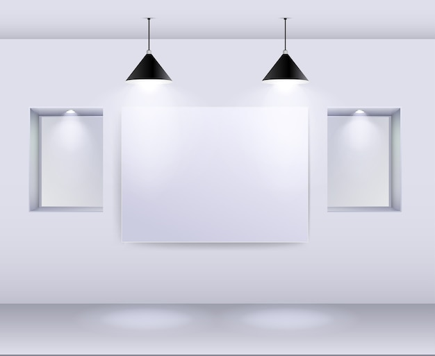 Intérieur de la galerie avec cadre vide sur le mur et les projecteurs