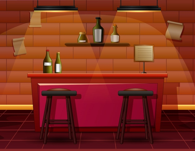 L'intérieur de l'illustration du bar-café