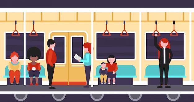 À l'intérieur d'une illustration plate de train