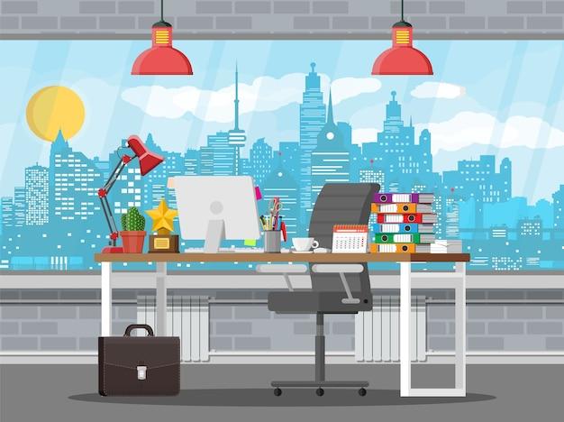 Intérieur de l'immeuble de bureaux avec illustration de bureau