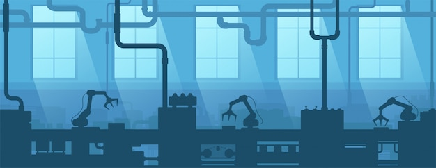 Intérieur industriel d'usine, usine. entreprise de l'industrie de la silhouette. fabrication 4.0.