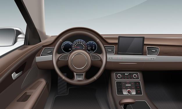 Intérieur à l'intérieur de la voiture avec tableau de bord de terre de roue en cuir de couleur marron