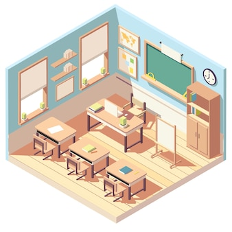 Intérieur isométrique belle salle de classe vide, école ou classe universitaire
