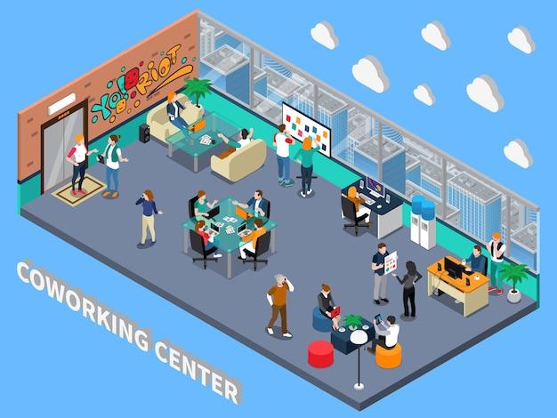 Intérieur isométrique coworking center