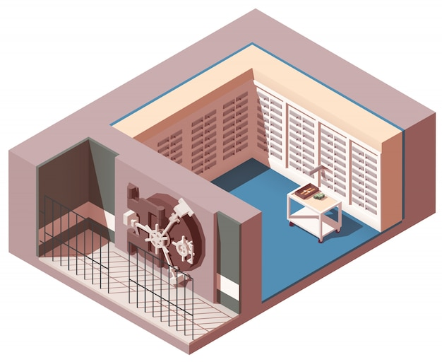 Intérieur isométrique du coffre de la banque