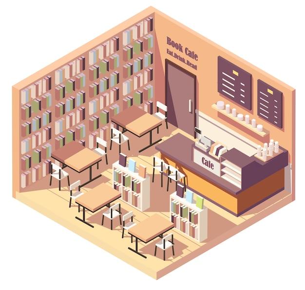 Intérieur isométrique de la librairie ou du café de la bibliothèque