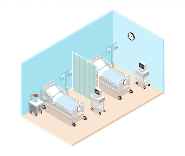 Intérieur isométrique de la salle d'hôpital