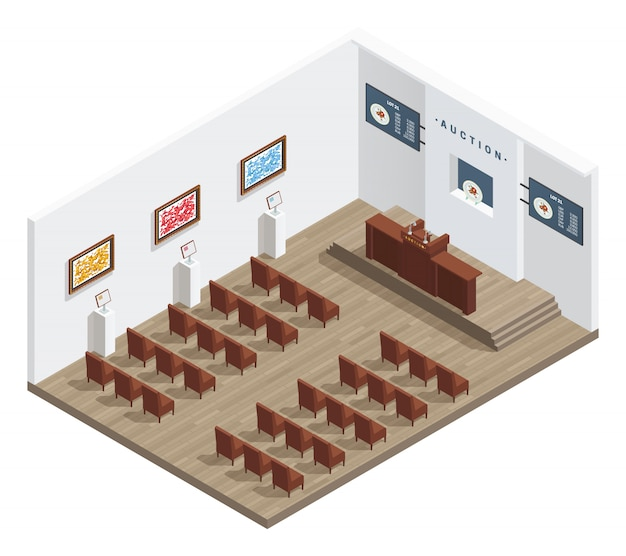 Intérieur isométrique de la salle des ventes avec photos de chaises de soumissionnaires de la tribune