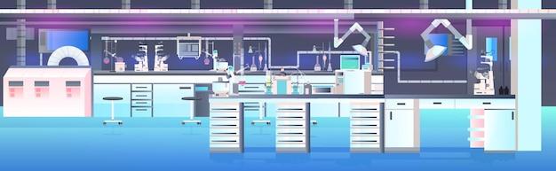 Intérieur de laboratoire moderne vide aucun laboratoire de chimie de personnes avec illustration horizontale de meubles
