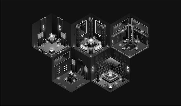 Intérieur de laboratoire sombre. visualisation de données. bâtiment industriel futuriste. illustration isométrique sombre.