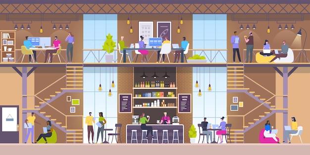 Intérieur de lieu de travail moderne. café de style loft.