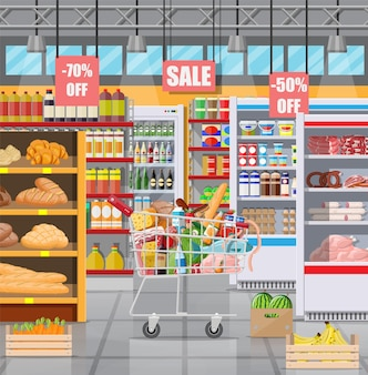 Intérieur de magasin de supermarché avec des marchandises. grand centre commercial. epicerie. à l'intérieur du super marché. chariot plein de nourriture. epicerie, boissons, fruits, produits laitiers. illustration vectorielle dans un style plat