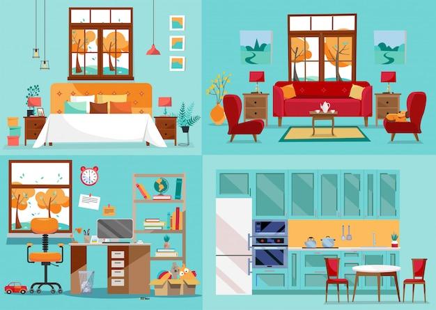 Intérieur maison 4 pièces. vues intérieures avant de la cuisine, du salon, de la chambre, de la pépinière. ameublement des pièces intérieures de la maison. vue intérieure pour l'ameublement. illustration de style dessin animé plat
