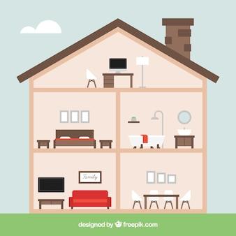 Intérieur de la maison avec de belles chambres