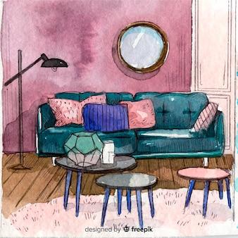 Intérieur de maison confortable aquarelle