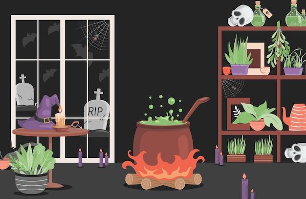 Intérieur de la maison du dessin animé plat de vecteur de sorcière maléfique