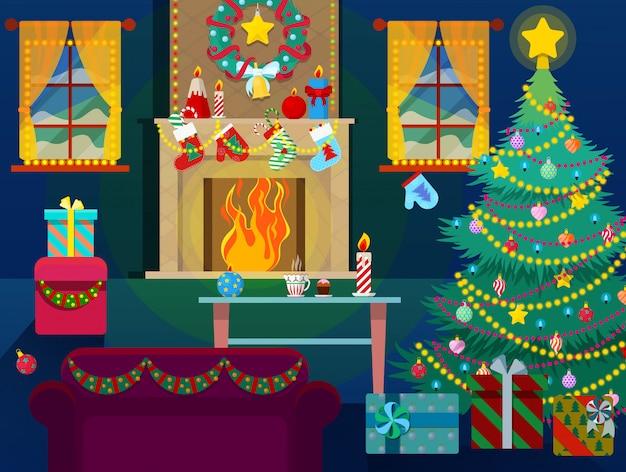 Intérieur de maison joyeux noël avec arbre de noël, cheminée et cadeaux.