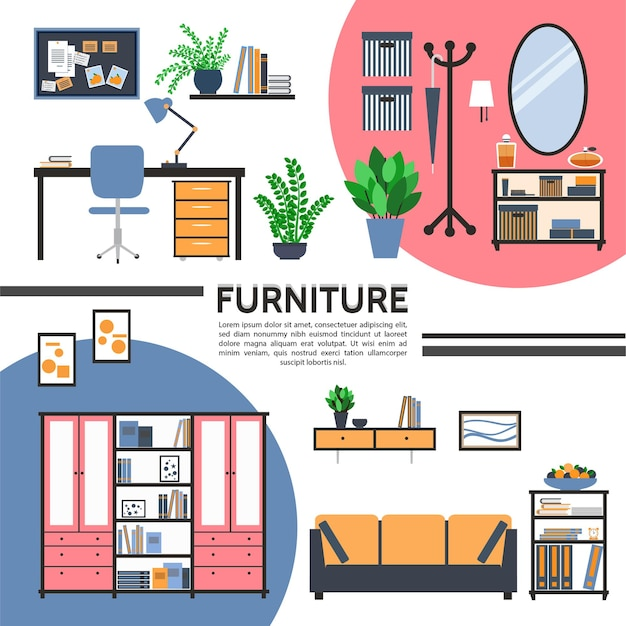Intérieur de maison plat avec meubles table chaise canapé armoire table de chevet miroir étagères dossiers de bureau