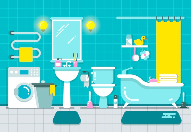 Intérieur de maison de salle de bain avec illustration vectorielle de douche, baignoire et lavabo