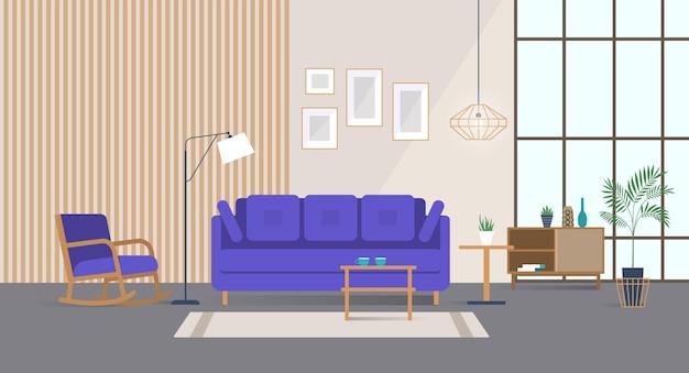 Intérieur de maison spacieux avec des meubles confortables et élégants