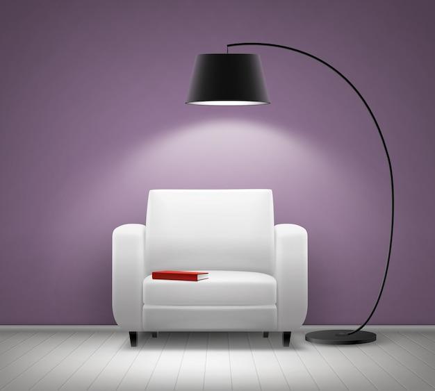 Intérieur de maison de vecteur avec fauteuil blanc, lampadaire noir, livre rouge et vue de face de mur violet
