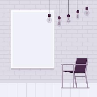 Intérieur de mezzanine avec cadre de mur de briques blanches pour fond